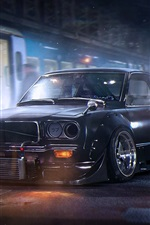 Preview iPhone wallpaper Mazda RX-3 black car, night, city