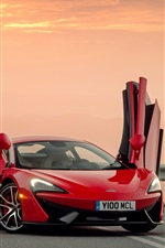 iPhone fondos de pantalla McLaren 570S roja superdeportivo, abrió las puertas