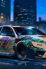 Mercedes-Benz C63 AMG supercar, night, lights