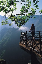 Preview iPhone wallpaper Morning landscape, nature, girl, mountains, trees, fences