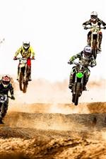 Preview iPhone wallpaper Motocross race, jump, dust, desert