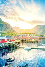 Preview iPhone wallpaper Norway, Lofoten, lake, mountains, gorge, sunrise, town, houses, pier, boat
