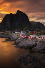 Preview iPhone wallpaper Norway, sky, clouds, sunset, sea, mountain, village, house