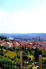 Preview iPhone wallpaper Old city, Czech Republic, Prague, house, river, sky, clouds