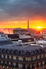 Paris, France, evening, sunset, house, tower