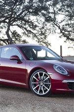 Preview iPhone wallpaper Porsche 911 supercar, red color