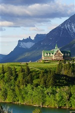 Preview iPhone wallpaper Prince of Wales Hotel, Waterton Lake, Alberta, Canada, Rocky Mountains