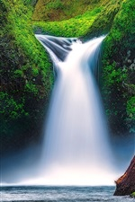 Preview iPhone wallpaper Punch Bowl Falls, Eagle Creek, Columbia River Gorge, Oregon, USA, moss