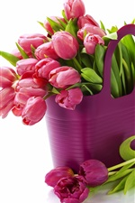 Preview iPhone wallpaper Purple fresh tulips, bouquet flowers, white background