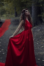 Preview iPhone wallpaper Red dress girl in the forest, bird, dusk