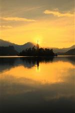 Preview iPhone wallpaper Slovenia, lake Bled, Church, dawn, sun