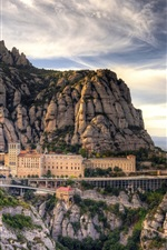 Preview iPhone wallpaper Spain, Barcelona, mountains, Santa Maria de Montserrat, house, clouds