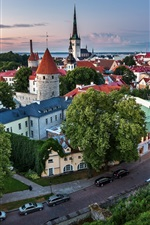 Preview iPhone wallpaper Tallinn, Estonia, old town, road, houses