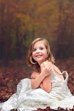 Preview iPhone wallpaper Wedding dress little girl, forest, autumn