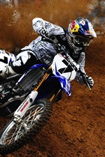 Preview iPhone wallpaper Yamaha, motorcycle, James Stewart, dirt, sports