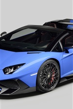 Preview iPhone wallpaper 2015 Lamborghini Aventador LP750-4 blue supercar