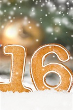 Preview iPhone wallpaper 2016 Happy New Year, cookies, snow