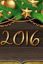 Preview iPhone wallpaper 2016 Happy New Year, golden balls, Christmas