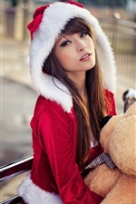 Preview iPhone wallpaper Asian girl, Christmas costume, bear toy