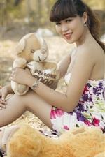 Asian girl, bear toys, summer