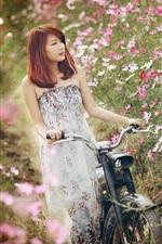 Preview iPhone wallpaper Asian girl, bike, flowers