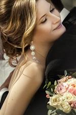 Preview iPhone wallpaper Beautiful bride, veil, bouquet, joy, hugs