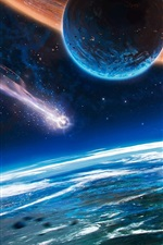 Preview iPhone wallpaper Beautiful space, planet, spaceship, comet, fantasy