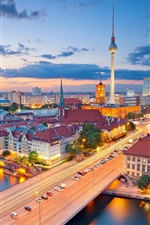 Preview iPhone wallpaper Berlin, Germany, city, night, lights, river, tower, houses