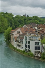 Bern, Switzerland, river, house, trees, cloudy sky