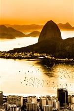 Preview iPhone wallpaper Brazil, Rio de Janeiro, city top view, coast, dawn, fog