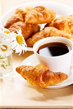 Preview iPhone wallpaper Breakfast, croissants, coffee, daisies flowers