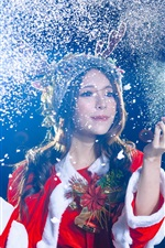 Preview iPhone wallpaper Christmas asian girl, celebration, snow flying