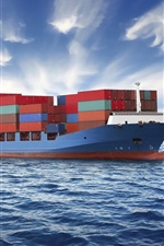 Preview iPhone wallpaper Container ship, sea, clouds