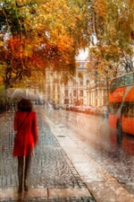 Preview iPhone wallpaper Creative pictures, St. Petersburg, girl, rain, autumn, road, cars