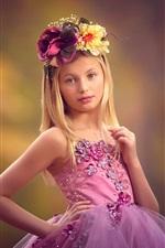 Preview iPhone wallpaper Cute little girl, wreath, purple dress