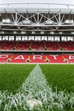 Preview iPhone wallpaper FC Spartak Stadium, football field, lawn, lights