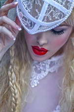 Preview iPhone wallpaper Fashion girl, red lips, blonde