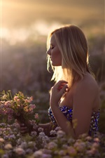 Preview iPhone wallpaper Girl in dreams, flowers, sun