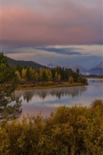 Preview iPhone wallpaper Grand Teton Park, Wyoming, USA, river, mountain, forest, autumn
