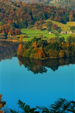 Preview iPhone wallpaper Grasmere Village, Cumbria, England, lake district, countryside, hills