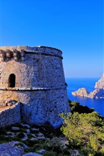 Preview iPhone wallpaper Ibiza, Balearic Islands, Spain, rock, tower, fortress, sea, blue sky