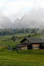 Preview iPhone wallpaper Italy, fields, meadows, mountains, Alps, houses, clouds