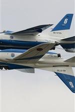 Preview iPhone wallpaper Kawasaki T-4, Blue Impulse, aerobatic group, aircraft