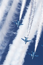 Preview iPhone wallpaper Kawasaki T-4, Blue Impulse, aerobatic group, sky, smoke