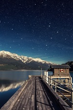 Lake, pier, mountains, sky, stars, night