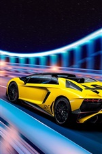 Preview iPhone wallpaper Lamborghini Aventador LP750-4 SuperVeloce, yellow supercar speed