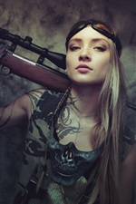 Preview iPhone wallpaper Long hair girl, rifle, look