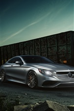 Preview iPhone wallpaper Mercedes-Benz S63 AMG coupe silver car