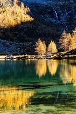 Preview iPhone wallpaper Mountains, trees, lake, water reflection, autumn, sunset