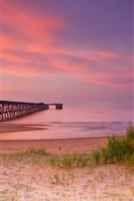 Nature, bridge, pier, sand, grass, sea, wave, horizon, pink sky